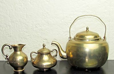 Vtg. Marked Korean Brass Tea Set ~ Tea Pot, Creamer, Sugar & Lid Matched Heavy
