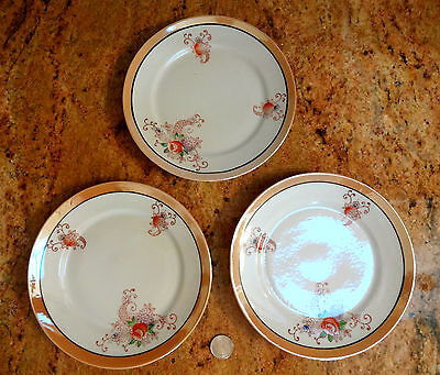 Vintage Made in JAPAN Floral with Peach Luster Rim Plates Set of 3 WOW NICE!
