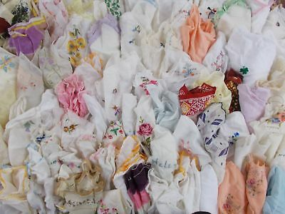 HUGE Mixed LOT 90 CROCHET LACE EMBROIDERED FLOWERS COTTON HANKY