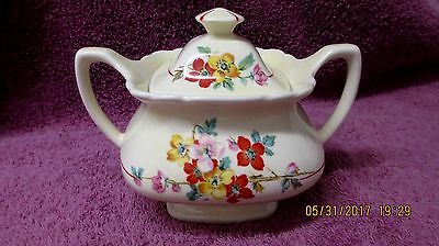 Vintage Lido W.s. George Sugar Bowl & Lid Cream Color & Spring Flower Decoration