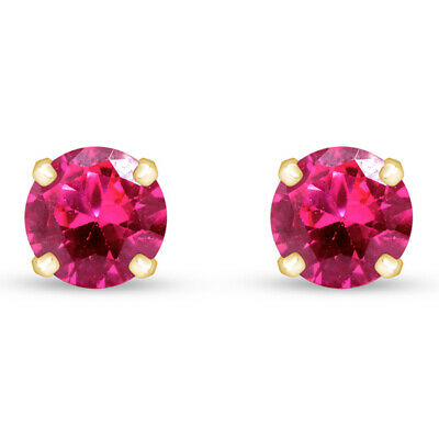 2.1 Ct Ruby 14K Yellow Gold Over Stud Earrings 6Mm $68.91 Valentine Gifts