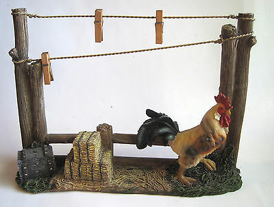 Rooster Clothesline Clothespin Note Message Photo Recipe Holder Country Decor