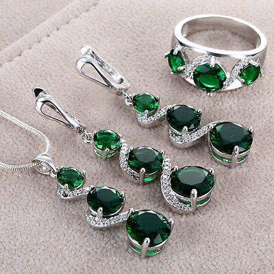 NEW Jewelry set Emerald CZ 925 Silver Fashion Necklace Pendant+earring+Ring