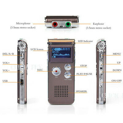 Digital Audio Voice Recorder Rechargeable Dictaphone Telephone16GB MP3 Player