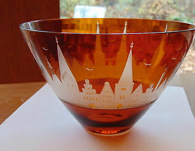 Rare Carl Rotter Amber Bowl - Lubeck Germany - Acid Etched German Townscape