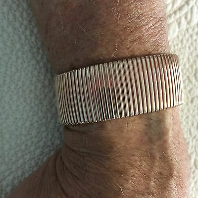 "NEW Bronze Milor Italy Wide Cuff Rose Magnetic Bracelet - 7 1/2"" L. x 1"" W."
