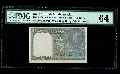 1 Rupees(1940),British India,PICK#25d,UNC,PMG-64 Green S/N