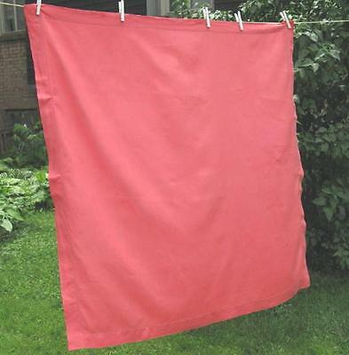 Vtg Linen Tablecloth Solid Color Light Red Pink Watermelon 48x48 Hemstitch