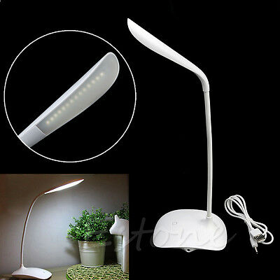 USB Rechargeable Touch Sensor LED Light Table Desk Reading Lamp Cordless White