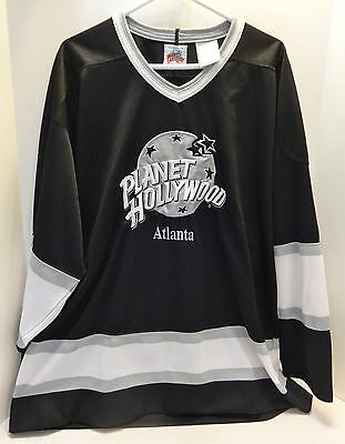 Planet Hollywood Atlanta Black & White Hockey Jersey XL 1991