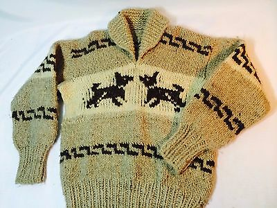 Vintage Cowichan Indian Sweater 100% Wool Hand Made Size M - L