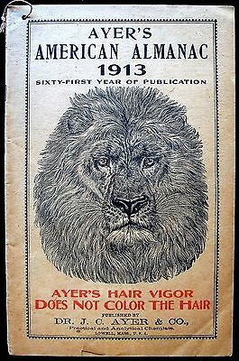 1913 Ayer's Almanac Published By Dr. J.c. Ayer & Co. Of Lowell, Mass.