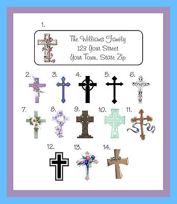 Personalized Religious CROSS CROSSES Return Address Labels, 30 Per Sheet