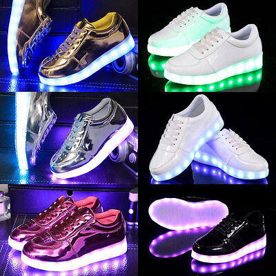Kids Boys Girls LED Light Up Shoes Luminous USB Charge Sports Casual Sneakers