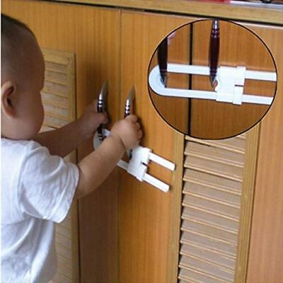 1x Child Baby Door Handles Cabinet U Shaped Lock Cupboard Drawer Safety Locks LH