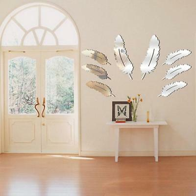 Feather Mirror Surface Crystal Wall Stickers DIY Acrylic 3D Home Decor Silver LH