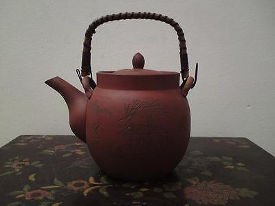 Antique Chinese Japanese terracotta Yixing teapot bamboo handle signed engraved