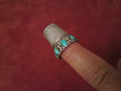 Antique early 20th century Continental silver natural gemstone turquoise thimble