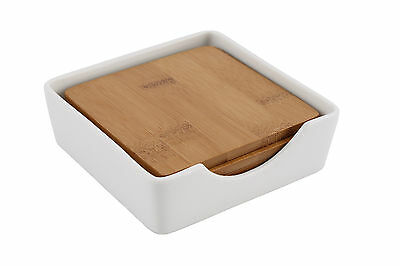 Set of 4 Square Wooden Bamboo Drinks Coasters with Holder Coffee Table  Home SF