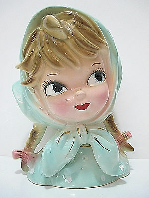 Vintage Inarco Lady's Head Vase E-2523 Blonde Braided Pigtails, Light Blue Hood