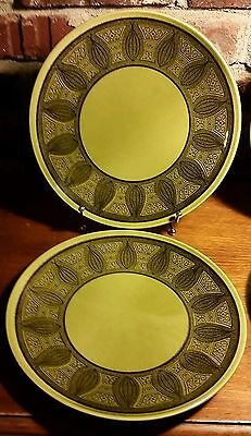 """Taylor Smith & Taylor RIVIERA Dinner plate set of 2, 10 3/8"""", Green & Black"""