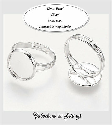 10 x silver tone adjustable ring base with 12mm cameo Round Bezel Blank Tray