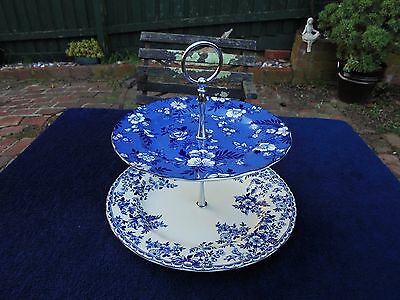 Johnson Devon Cottage Cake Stand 2 Tiers Like New Blue & White