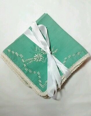 Vintage Hand Embroidered Tatted Crocheted Edge Green Floral Handkerchiefs Set