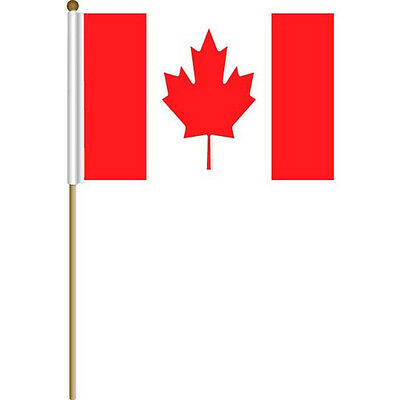 Canada 12 x 18 inches Hand/Stick Flag Pack of 12 Stick Flags 100% Polyester