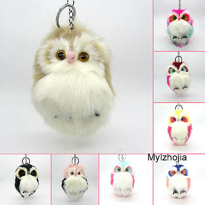 NEWEST Cute Fluffy Owl Keychain and Pendant Woman Keychain Keyring Pompoms15 CM