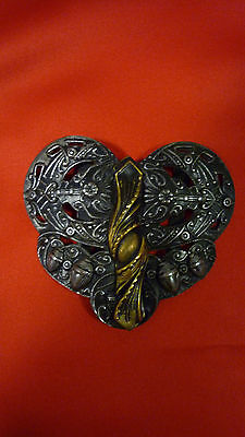 Antique art nouveau 2 piece heart shaped repousse belt buckle