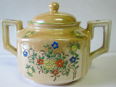 Vintage Trico Sugar Bowl Lusterware Handpainted Floral Design Nagoya Japan
