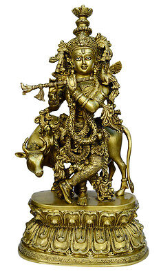 Brass Big cow with Krishna statue handicrafts product by BharatHaat™BH00789