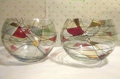 2 Partylite Glass Candle Holders Calypso Mosaic 4x5""