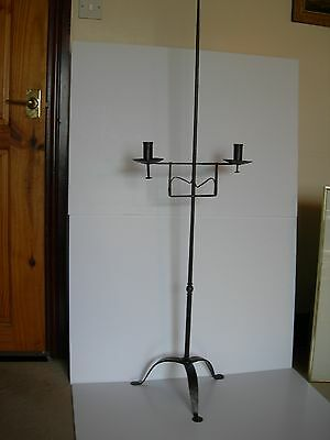 SUPERB ADJUSTABLE WROUGHT IRON CANDLE STAND RUSHLIGHT TAPER 19thC OR EARLIER