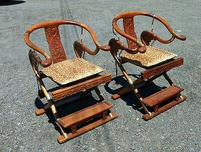 Chinese Antique Style Yoke Back Folding Chair a Pair