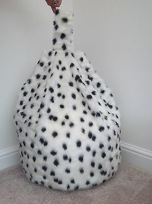 Cover Only Black & White Bean Bag Faux Fur Childrens 3 Cubic Ft Size Dalmatian