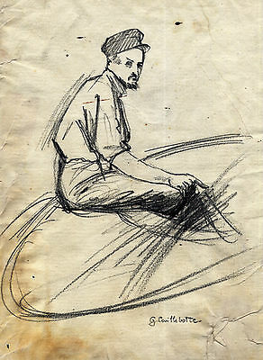 Gustave Caillebotte 0024  - Drawing On Old Original Paper