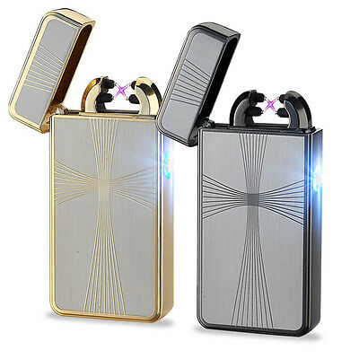 USB Electric Dual Arc Rechargeable Windproof Plasma Lighter Flameless Best Gift