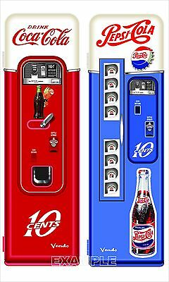 Set Of Two Vintage Coca Cola And Pepsi Machines Adhesive Vinyl Custom Order