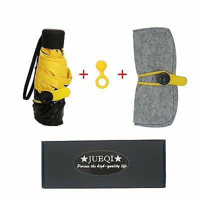 JUEQI Ultra Mini and Light Umbrella. 5 Folding Compact Pocket Umbrella. Travel