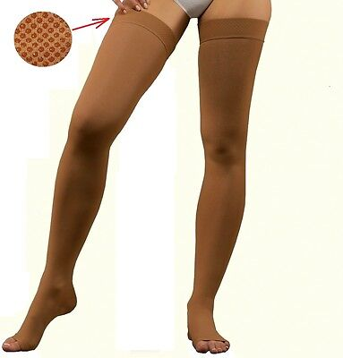Compression Stockings Class II OpenToe 23-32 mm HgThigh High Stay Up Nude Black