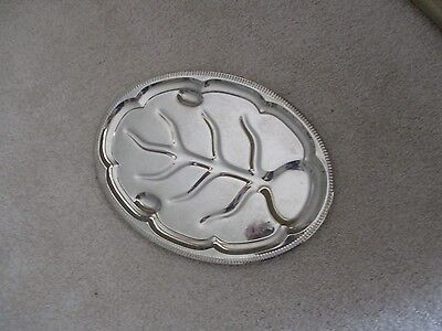 Silver Plate Oval Embossed Meat Serving Tray #1