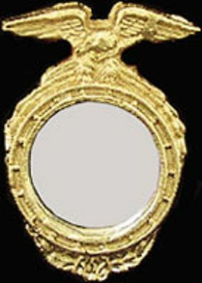 Dollhouse Miniature Round Gold Framed Mirror by Unique Miniatures