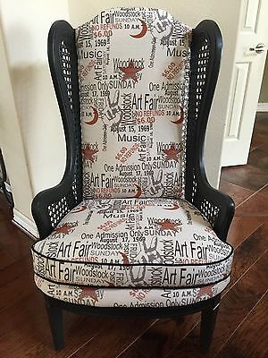 High Back Cane Chair With Woodstock Fabric