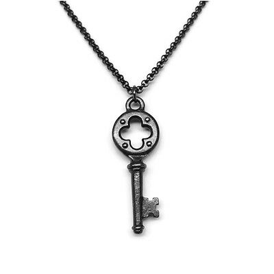 Small Black Skeleton Key Necklace for Her 16 Inch Steel Choker Chain