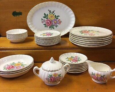 Vintage W.S. George Bolero Flower Print Dinnerware Set 30+ Pieces