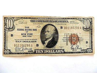 1929 Ten Dollar National Currency Federal Reserve Bank Of New York Note