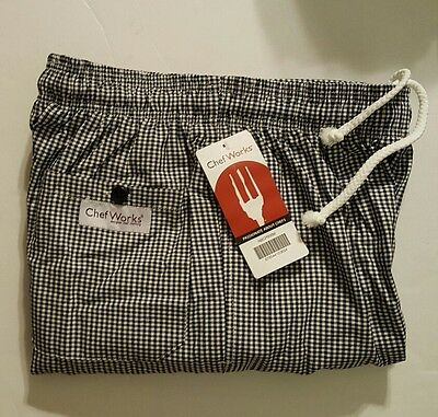 Chef Works Black/White Checkered Pattern Designer Baggies Pants Men's (NBCP000M)
