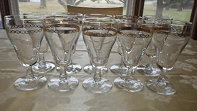 Libbey Water Ice Tea Goblets glasses Gold Band ELegant stem 10 10oz footed